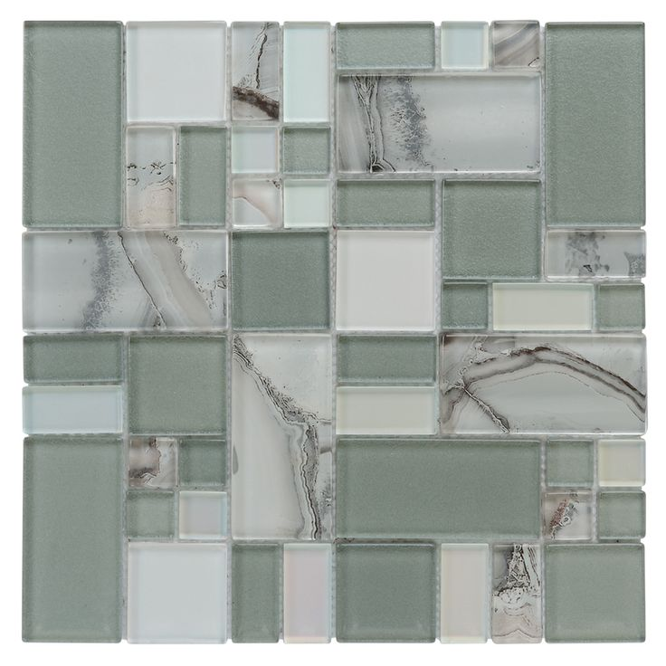 Lowes allen roth volcanic laser cubes mosaic glass wall - Lowe s home improvement bathroom tile ...