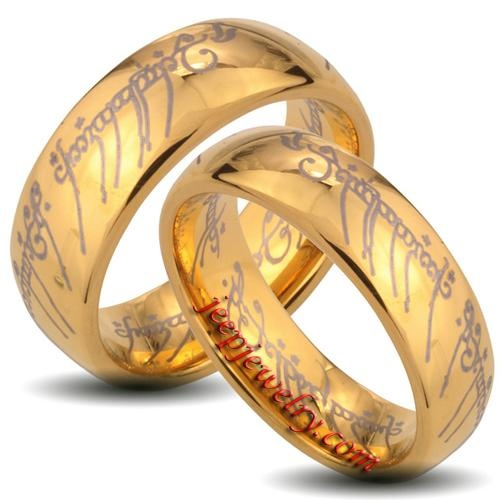 goldplated tungsten carbide the one elvish script his and her wedding band set - The One Ring Wedding Band