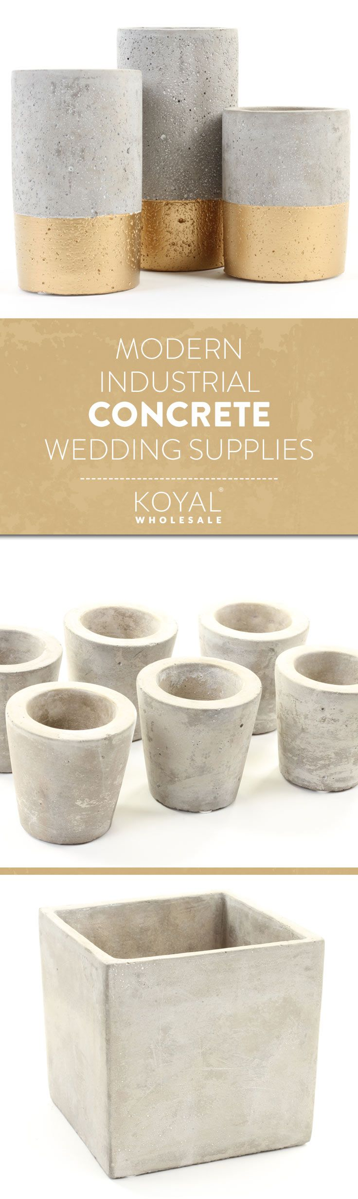 Modern Industrial Concrete Cement Wedding Supplies by KOYAL WHOLESALE  Wholesale Wedding & Special Event Supplies | Free Shipping Over $99+  Wedding Decorations & Centerpieces Vases, Charger Plates, Candle Holders, and More.