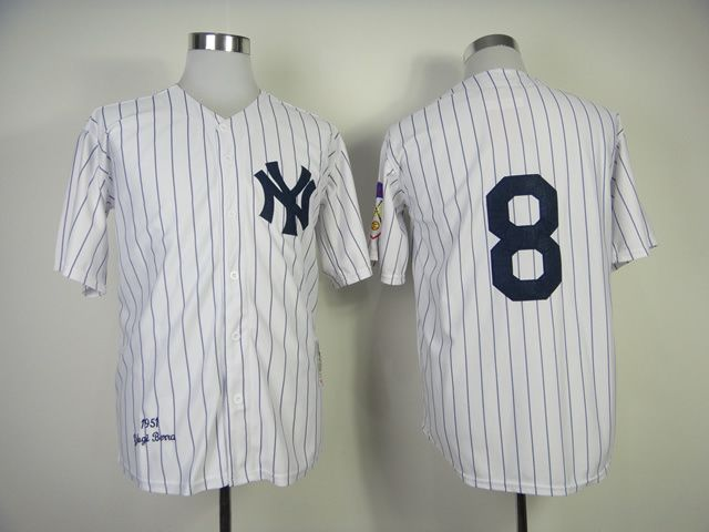 Men's MLB New York Yankees #8 Yogi Berra 1951 White Throwback