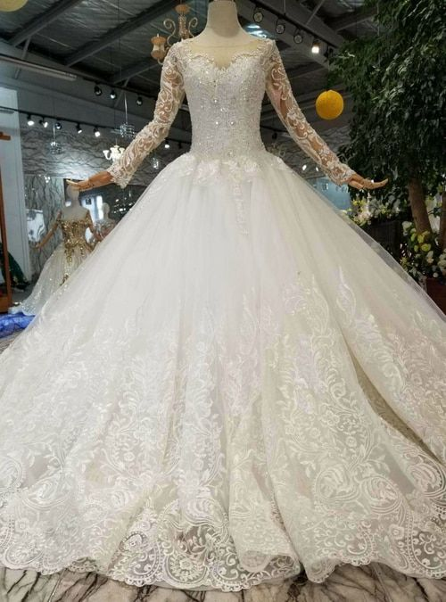 9f5e363f Silhouette:ball gown Hemline:floor length Neckline:bateau Fabric:tulle  Shown Color:ivory white Sleeve Style:long sleeve Back Style:lace up ...
