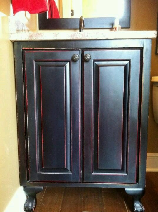 Bathroom Vanity In Black With Red Distressed Cabinets Barn Home Decor Furniture