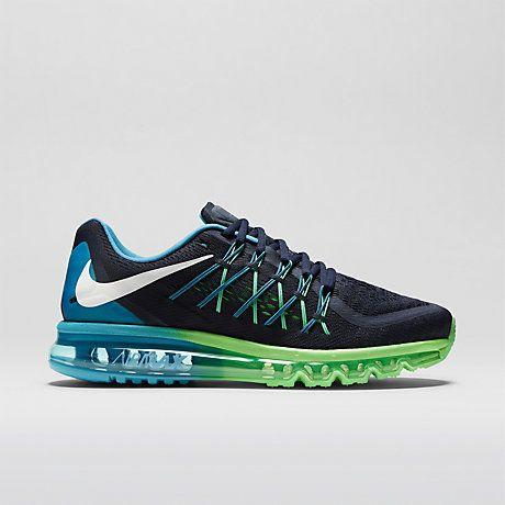 Nike Air Max 2015 Homme Chaussures Sombre Obsidian Lagon Bleu Poison Vert  Blanc