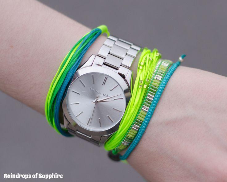 Michael Kors Slim Runway Watch in Silver with Kutula Kiss bracelets http://raindropsofsapphire.com/2013/09/22/my-new-michael-kors-slim-runway-silver-watch/