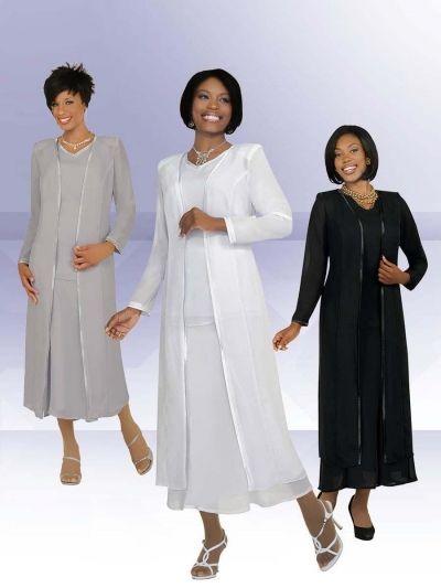 Misty Lane by Ben Marc 13061 Church Choir Dress- Women's 3 piece church choir dress set features Pebble Georgette fabric.