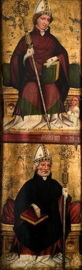 ŚŚ. Wojciech, Marcin, Matka Boska Bolesna. Skrzydło lewe z retabulum ołtarzowego w kościoła św. Marka w Żywcu, ok. 1450