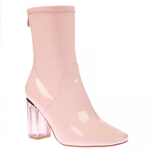 Chloe Pink Perspex Heel Pink Ankle Boot ($44) ❤ liked on Polyvore featuring shoes, boots, ankle booties, pointy-toe ankle boots, zip ankle boots, pink ankle boots, pointed-toe boots and pink boots