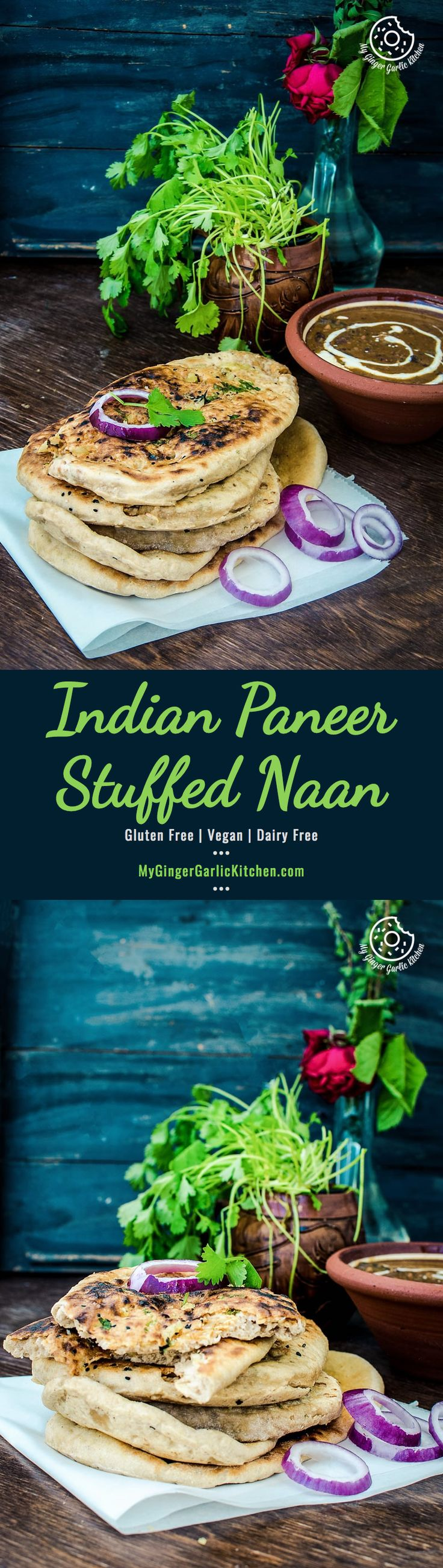 Indian Paneer Stuffed Naan —  this crispy Indian Naan is stuffed with a classic and delectable mixture of Indian paneer, onions and some spices. It can be served as breakfast and also as a main meal. From: https://www.mygingergarlickitchen #Paneer #Stuffednaan #naan #Indianflatbread #Punjabi #Naanontawa #Kulcha #Vegetarian