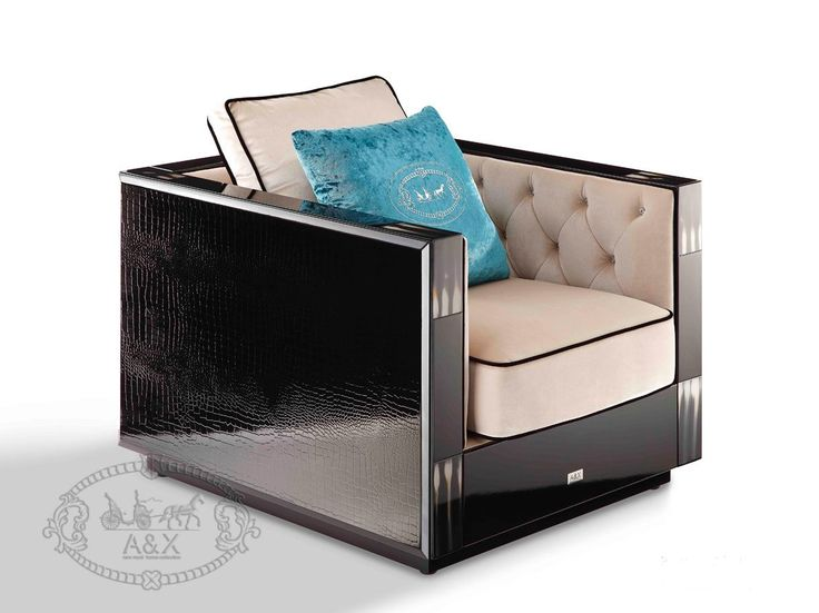 A&X Bellagio Transitional Black Crocodile and Beige Fabric Lounge Chair. The A&X Bellagio transitional black crocodile and beige fabric lounge chair features deep seating with cozy cushions covered with soft beige velour fabric with black piping accentuation. Entrenched crystals adorned the tufts on the inner side cushions for a more plush appeal. It has a glossy black lacquer finish featuring the signature laser-cut crocodile textured pattern of A&X Collection, while faux cow horn inlays…