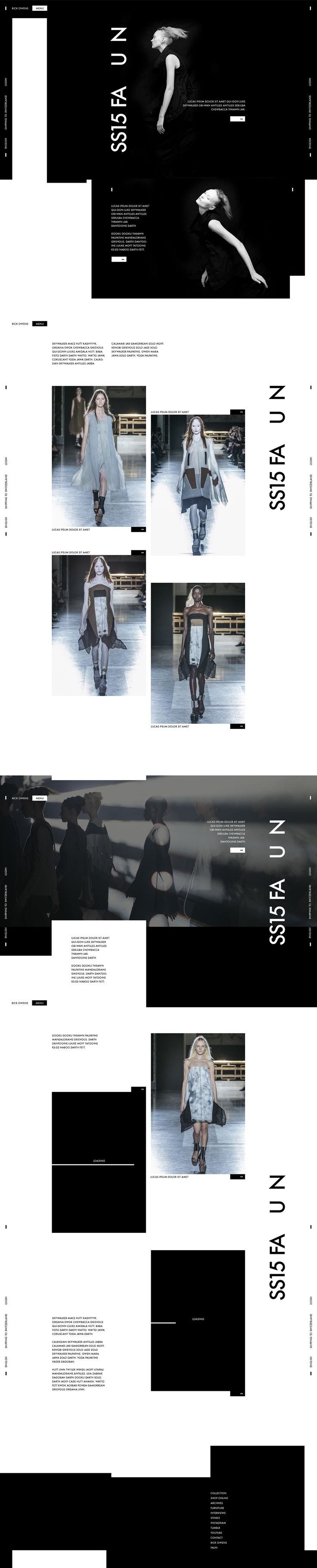 Web | Rick Owens Concept on Behance #web #webdesign #design #layout #grid #fashion #minimalist #black #white #ecommerce