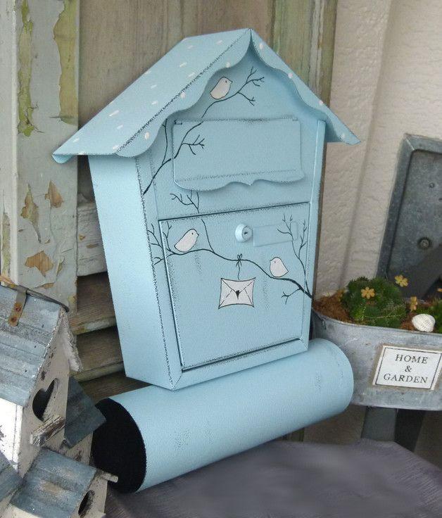 Shabby Briefkasten in Blau mit Vögelchen / cute blue postbox with birds made by KirSchenrot via DaWanda.com