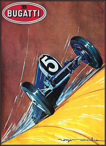 Bugatti 5 Vintage Auto Racing Poster http://stores.ebay.com/Vintage-Poster-Prints-and-more