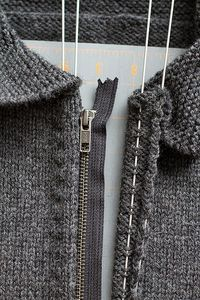 Painless way to install a zipper on a knitted sweater!