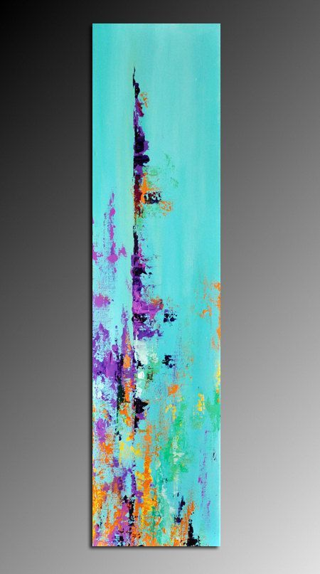 "Abstract 156 - Original Modern Textured Abstract Painting 8""x31"" Landscape Painting, Ready to Hang. $180.00, via Etsy.:"