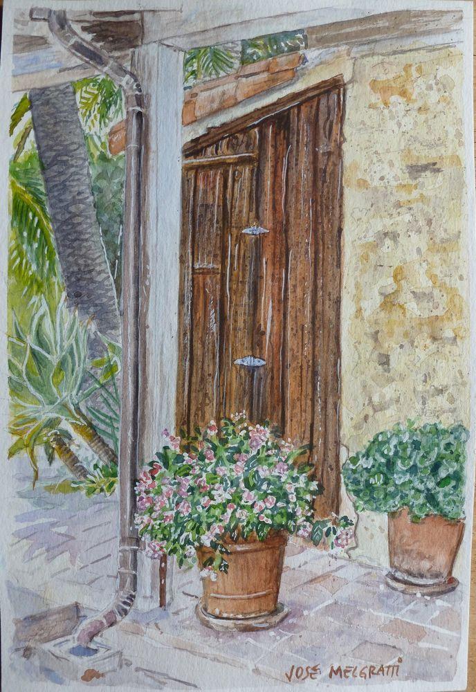 Painting Watercolor Original art Santa Barbara Rústica Original signed artwork #Realism