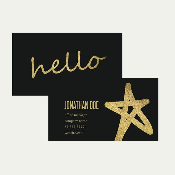 Business Card Template, Business Card, marketing, Printable, Digital Download, Photographer, Template, Gold foil, grey, hello, minimal, gold...