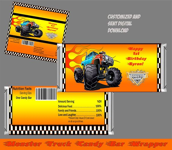 This Monster Truck Boys Birthday Candy Bar Wrapper can be personalized and customized to suit your requirements and details.  This is a digital printable file for monster trucks that is downloaded. No physical item will be mailed to you. Turn around time is approximately 24-48 hours.  Print as many as you need! Just open the file, print, cut and apply to each candy bar. To open the PDF file, you will need Adobe Reader, which is a free at http://get.adobe.com/reader/.   ☀ A...