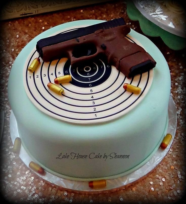 Groom's Cake, Target, Glock Cake, Handgun, Hand gun, Chocolate Glock, Bullets, Ammo, Ammunition, Lake House Cake by Shannon Panama City Beach, FL