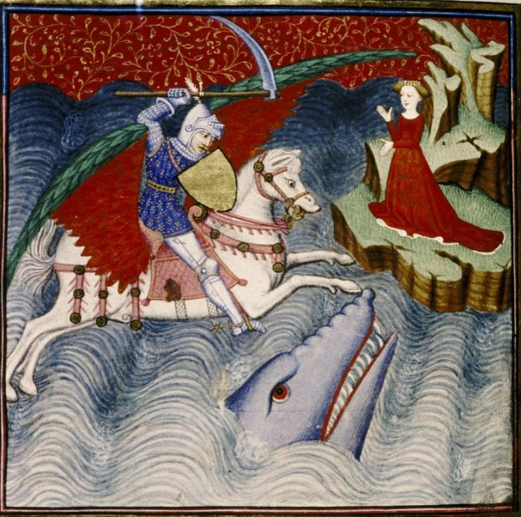 Perseus saves Andromeda from the sea monster. Christine de Pizan, Épître d'Othéa, illumination by 'The Master of Sir John Fastolf', 1450 (France). MS Laud Misc. 570, fol. 33v. Bodleian Library, Oxford.