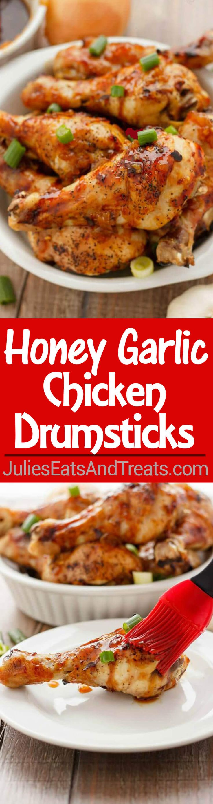 Honey Garlic Chicken Drumsticks - Take a cost-effective cut of chicken and transform it into something amazing for a weeknight meal! ~ http://www.julieseatsandtreats.com