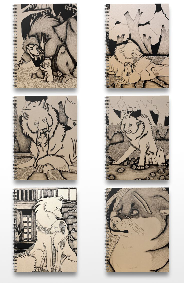 Black and white illustrated dog and wolf notebooks