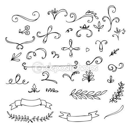 elementos florales vintage dibujados a mano — Ilustración de stock #59225301