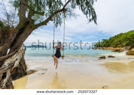 Beautiful Caucasian Woman On Wooden Swing Tied To A Tree With Ropes, Enjoying Herself On A Tropical Beach In Thailand, Koh Phangan Stock Photo 252073327 : Shutterstock #thailand #stockphoto #thailandphoto #stockimage #thailandstock #island