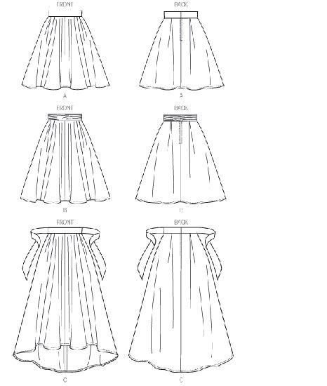Vogue - 8980 patroon Rok met brede tailleband. In 3 verschillende lengtes   Naaipatronen.nl   zelfmaakmode patroon online