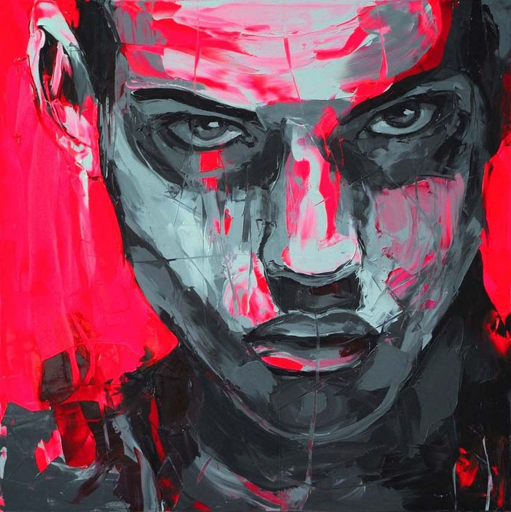 Francoise Nielly, pink and grey scale knife painting