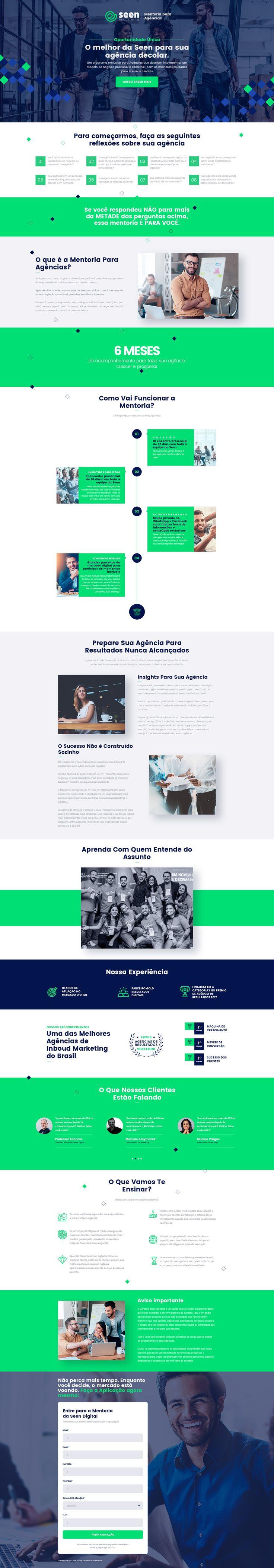 Projeto criado para a Seen Digital - Mentoria para Agências com assinatura da Dinamite Criativa