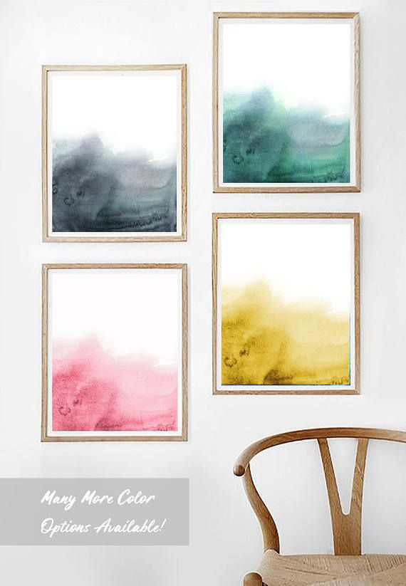 Printable Wall Art PD F Modern Abstract Living Dinning Room Yellow Blue Flowers