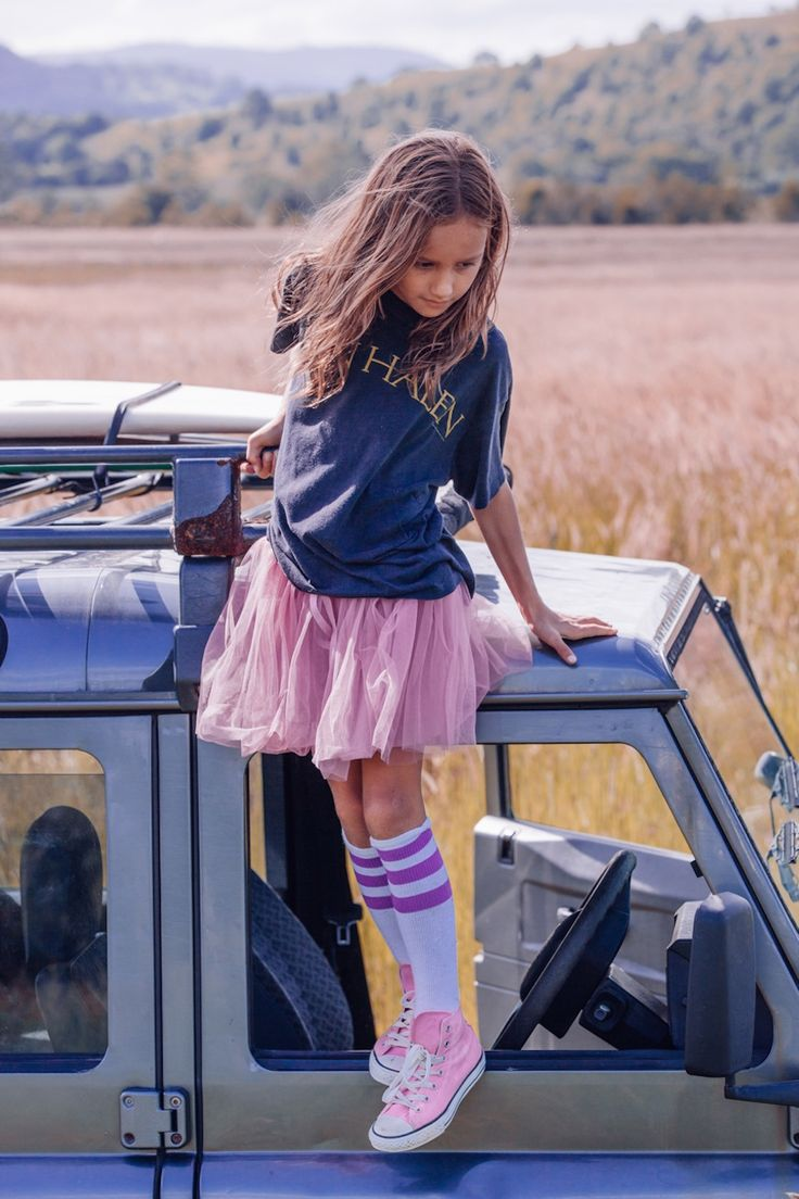 Pink tutu, soccer socks and conveste - cool tween girl outfit