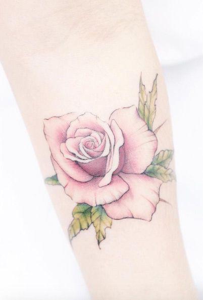 Soft Rose Tattoo on Forearm by Mini Lau