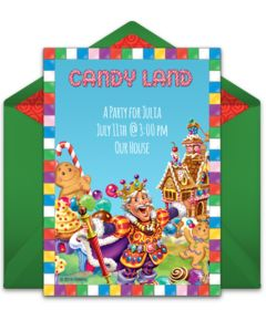Customizable, free Candy Land online invitations. Easy to personalize and send for a party. #punchbowl