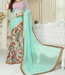 Buy Cyan printed Georgette saree with blouse party-wear-saree online