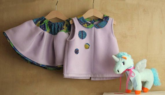 Baby girl set 2 pc purple blouse and skirt lilac fleece and