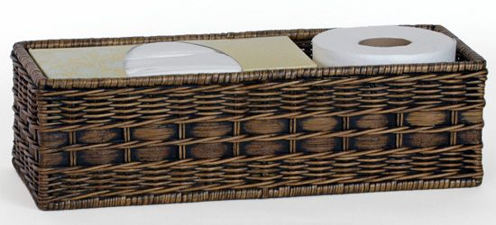 Wicker Toilet Tank Basket - The Basket Lady - beautiful handmade wicker & rattan baskets, furniture, and home décor