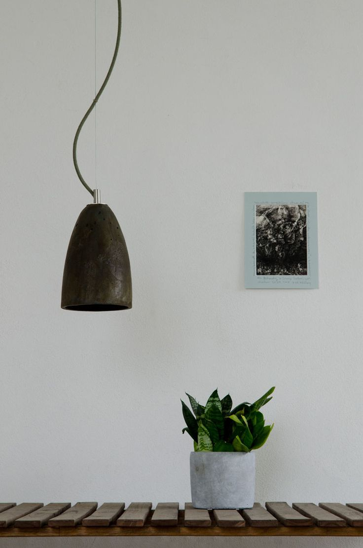 New decorative finish on our FEBE S concrete lamp. Olive grey is specially hand painted, to guarantee the uniqueness of each lamp.  #concrete #pendant #lamp #handcast