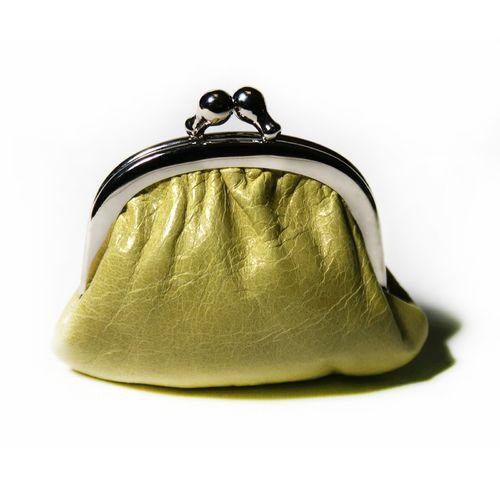"""Kleine Geldbörse/Portemonaie """"Miniknip Crunch Lime"""" aus Leder 8 x 7 x 1,5 cm - Cellarrich"""