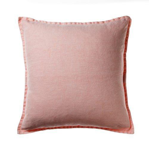 Home Republic Vintage Washed Linen Lounge Cushion Blush, cushion, linen cushion