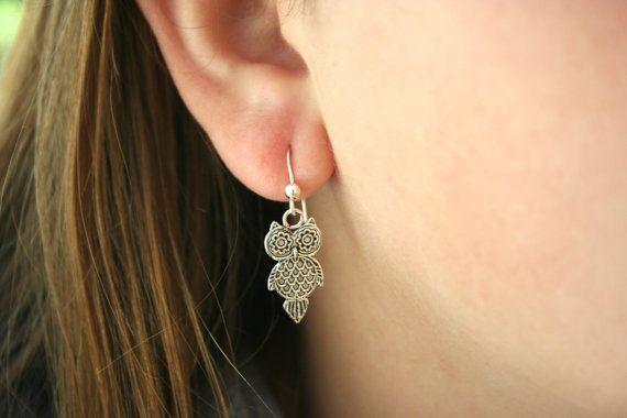 Sterling Silver Owl Earrings by 2BeadingHeartsJewels on Etsy