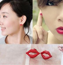 ES133 Fashion Personalized Fan Children Cool Handsome Sexy Lips lipstick Stud Earrings Jewelry Accessories(China (Mainland))
