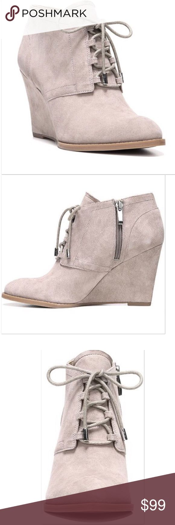 "NIB Franco Sarto Lennon Wedge Booties Ultra-chic wedge bootie shaped in velvety suede.  Self-covered wedge heel, 3 1/2"".  Almond toe.  Lace-up.  Man-made lining and sole.  Padded insole.  Color: Mushroom. Franco Sarto Shoes Ankle Boots & Booties"