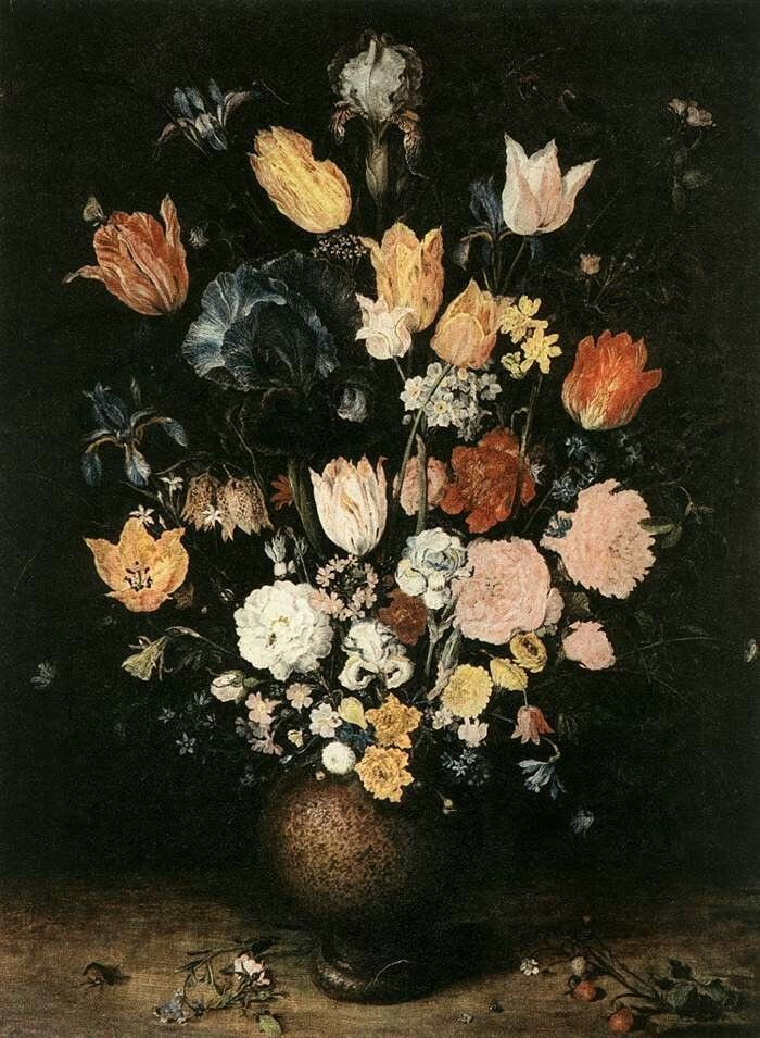 Bouquet of Flowers - Oil on oak panel, 67 x 51 cm Národní Galerie, Prague