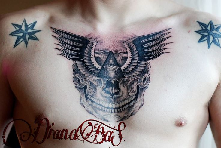 Nice chest tattoo by Dia!