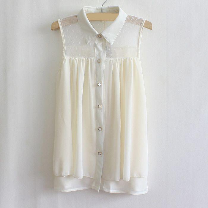 Vintage Polo Collar Sheer Mesh Sleeveless Women's Shirt (PINK,ONE SIZE) | Vintage Blouses