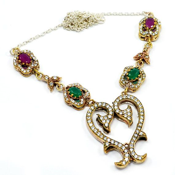 Silvestoo India Ruby,Emerald And White Topaz (Lab) 925 Sterling Silver With Bronze Turkish Pendant Necklace Jewelry PG-7136  https://www.amazon.com/dp/B01EOHGEBI