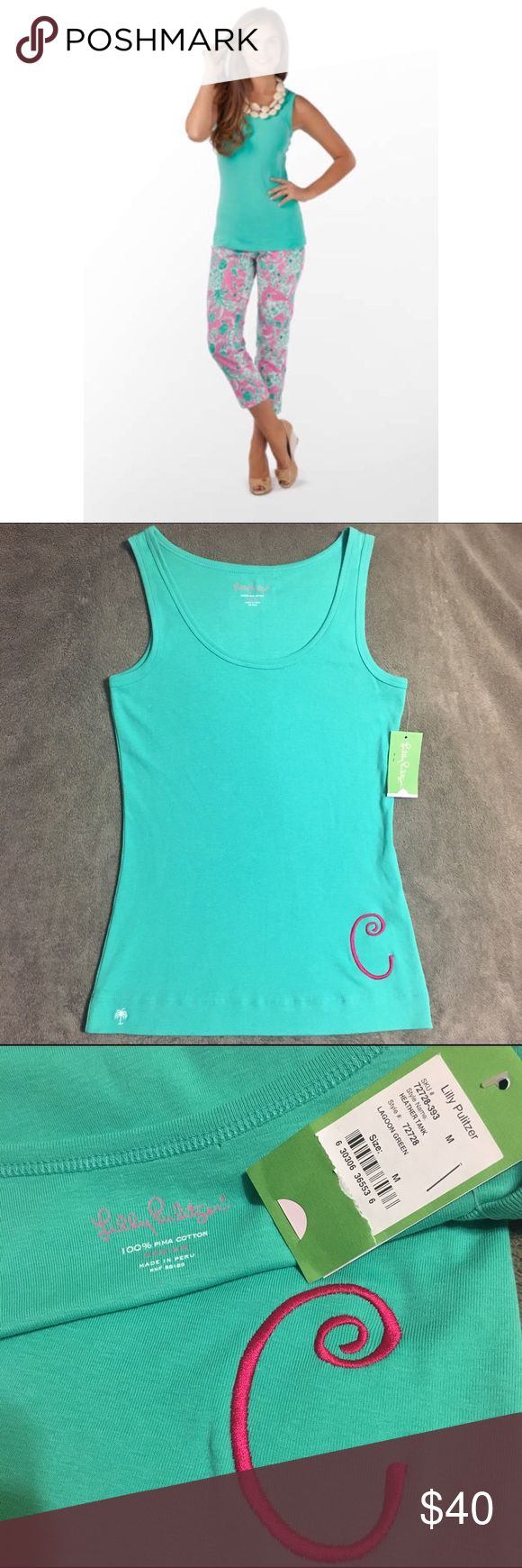 """NWT Lilly Pulitzer Monogrammed Heather Tank Top Lilly Pulitzer Monogrammed Heather Tank Top. Brand new with tags, never worn, but the price was removed from the tag. Lagoon green color with an embroidered pink """"C."""" This is the perfect gift for any Lilly lover with the initial C! Stock photo does not show the monogram. Lilly Pulitzer Tops Tank Tops"""