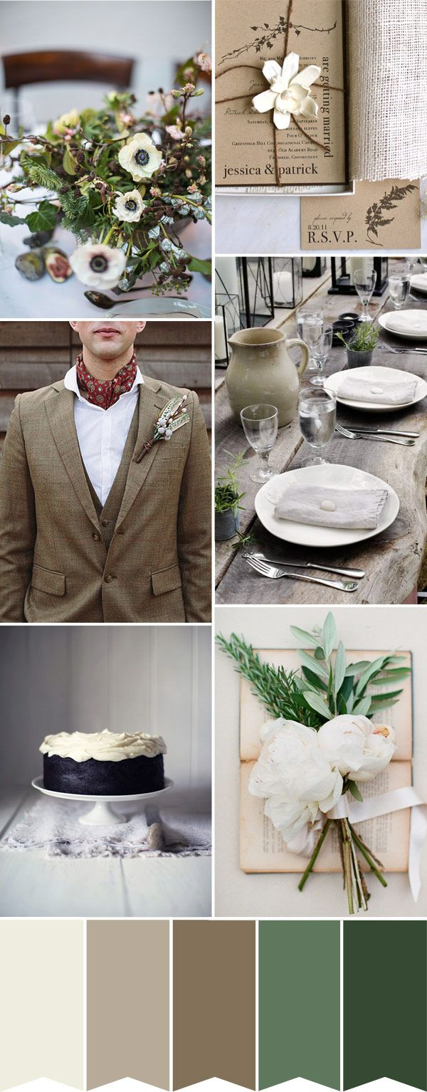 A wedding look inspired by a country gentleman groom, this rustic wedding palette combines the natural shades of Ireland - brown, cream and green to create a romantic look
