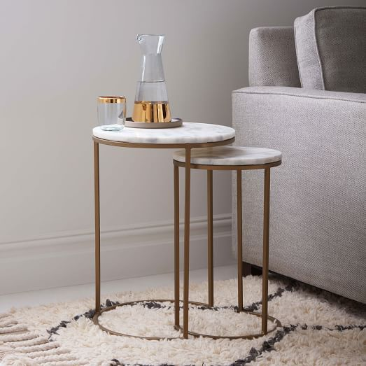 Round Nesting Side Tables Set - Marble/Antique Brass | west elm